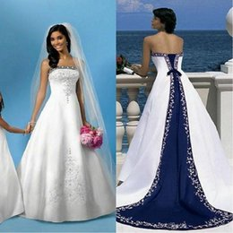Wholesale Women Bandage Dresses Size 12 - 2017 Elegant Wedding Dresses Embroidery White And Blue A Line Royal Bandage Women Vintage Beach Garden Bridal Wedding Gowns Sweep Train