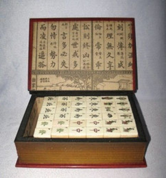 Wholesale Beautiful Tiles - Chinese Old Beautiful Mah Jong Set in Leather book Box*144 Tiles Tiles   Bamboo decoration bronze factory outlets