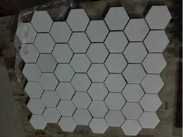 Wholesale Polish Tiles - Pure White Fashion Hexagon Natural Marble Mosaic Polished Tile for home decoration use for interior exterior wall and flooring use 5pcs lot