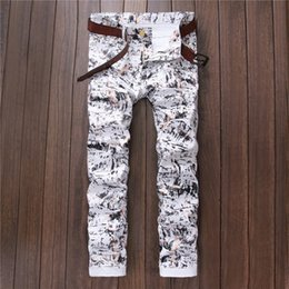 Wholesale Stylish Capris - Wholesale-Fashion Mens Printing Flowered Pants Slim Fit Hip Hop Floral Joggers Night Club Wear Stylish Printed Sweatpants For Man Size