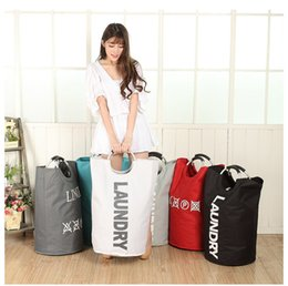 Wholesale Laundry Basket Colors - College Laundry Basket Storage Bags with Alloy Handles Folded Laundry Hamper Handbags 5 Colors