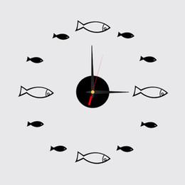 Wholesale Decoration Fish Stickers - Wholesale- 2016 3d home decoration Acrylic Quartz Digital Mirror watch wall stickers diy fish clock living room clocks relogio parede P20