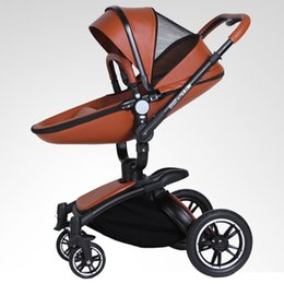 Wholesale Baby Carriage Wheels - 2017 new Europe luxury baby stroller baby pram High landscape baby carriage inflatable natural rubber wheels PU 3 colors free shipping