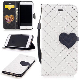 Wholesale Lovely Iphone Wallet Cases - Smart phone Case For iPhone 6 6P 7 7P Huawei Honor 6X Samsung S8 S8Plus Hit color Lovely Heart PU Leather Silicon With Stand Wallet Cover
