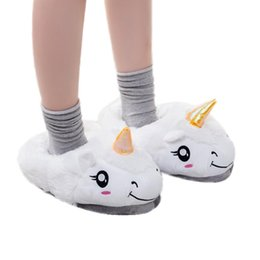 Wholesale Wholesale Hotel Plush Slippers - Plush Unicorn Slippers Household Slippers for Women Winter Warm Soft Cotton Unicorn Indoor Home Slipper Shoes Free Size