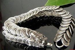 Wholesale Jewellery Clasps China - Tribal Tibet silver carved Dragon Handmade bracelet Men's Jewellery Bracelets