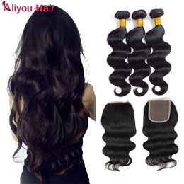 Wholesale Light Brown Remy Hair Weave - 8A Peruvian Virgin Hair with closure Extensions 3 Bundles Brazilian Body Wave With 4x4 Lace Closure Unprocessed Remy Human Hair Weave Bundle