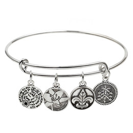 Wholesale Vintage Engraved Jewelry - fashion jewelry original parts vintage retro style wire adjustable expanded engraved woman clover Charm bangle bracelet