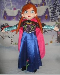 Wholesale Princess Mascot Costumes - 2017 Top Sale custom made anna princess dress mascot costume From Frozen princess anna and Elsa queen role play costume for adult