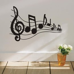 Wholesale Music Vinyl Wall Sticker - Music note wall sticker removable vinyl wall decal home decoration WallDecals 3d stickers living room bedroom