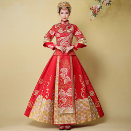 Wholesale Long Sleeve Maxi Dresses China - Wedding dress vestidos de novia 2017 chinese style red longfeng china bridal gowns long sleeve wedding dress