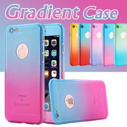 Wholesale Iphone 5s Body - 360 Degree Full Body Coverage Colorful Gradient Tempered Glass Screen Protector Slim Hard PC Cover Case For iPhone X 8 Plus 7 6 6S SE 5S 5