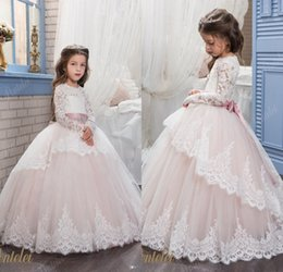 Wholesale Sleeves For Wedding Gowns - 2017 Lace Flower Girl Dresses for Weddings Blush Pink Long Sleeves Ball Gown Princess First Communion Dress Girls Pageant Party Gowns