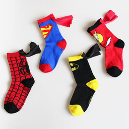Wholesale Cotton Batting Wholesale - Baby Girl Socks Cartoon Superman Batman Spiderman The Flash Boy Sock With Cloak Absorb Sweat Bats Children Kids Baby Socks For 3-6 Years