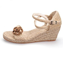 Wholesale Chinese Wedges Shoes - Chinese Art Women Handmade Hemp Sandals Absorbent Deodorant Low-heel Flat Shoes