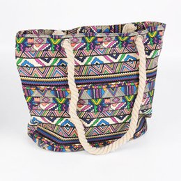 Wholesale Handbags Street Style - Newly woman fashion handbag ethnic style large canvas beach bag street leisure rope totes 5 patterns