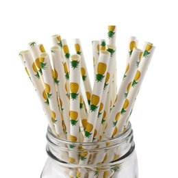 Wholesale Cocktail Drinks Decoration - 100pcs Pineapple Paper Straws for Wedding, Party Decoration, Disposable Biodegradable Honeycomb Cocktails Drinking Straw - 7.75 Inches