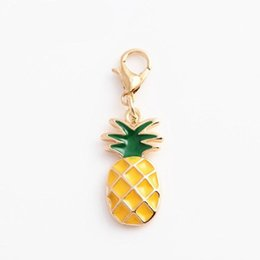 Wholesale Fruit Charm Bracelet - Key Chains Fruit Pineapple Floating Locket Charms with Lobster Clasp Fit For Chain Necklace Bracelet Locket 20pcs Lot