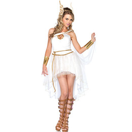 Halloween-outfits erwachsene online-Damen Griechische Göttin Cosplay Kostüm Erwachsene Fancy Dress Weiße Fee Halloween Stage Party Outfits Mit Stirnband
