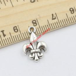 Wholesale Iris Pendant - Wholesale-20pcs Tibetan Silver Plated Iris Fleur De Lis Charms Pendants for Jewelry Making DIY Handmade Craft 18x13mm