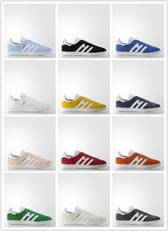 Wholesale Winter Upper - Pigskin Leather Upper A-D Gazelle Sneaker Racer Black Red Grey Orange Lightweight Breathable Men Women Running Shoes US Size 5-10