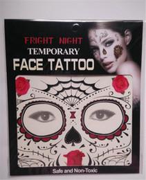 Wholesale Transfer Tattoos Eye - Fashion Design Fright Night Temporary Face Tattoo Body Art Chain Transfer Tattoos Temporary Stickers in stock 9 Styles