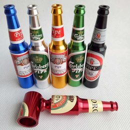 Wholesale Big Beer Bottles - Smoking Accessories Mini Herb Tobacco Smoke Pipe Metal Smoking Pipes Small Popular Beer Pipe bottles pattern Big and Small size