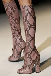 Wholesale Chunky Winter Boots - New Style Autumn Winter Snake Print Thick High Heels Boots Sexy Women's Boots Zip Knee-High Women Shoes Runway Fashion Week