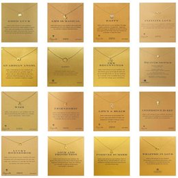 Wholesale Gold Animal Jewelry Wholesale - Mixed 35 Styles Dogeared Choker Necklaces with Card Gold Circle Elephant Pearl Love Wings Unicorn Pendant Necklace for Fashion Women Jewelry