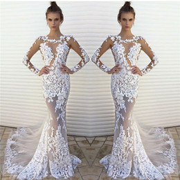 Wholesale Brial Dresses - Sexy Sheer Vestido De Noiva Lace Applique Long Sleeves Organza Mermaid Wedding Dresses 2017 Lace Brial Gowns Cheap Free Shipping