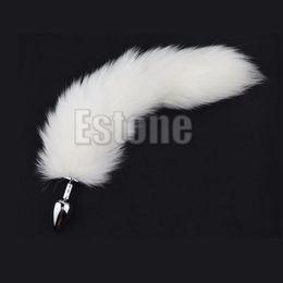 Wholesale Long Anal Tail Plug - 1PC White Fox Tail Butt Metal Plug 35cm Long Anal Sex Toy New