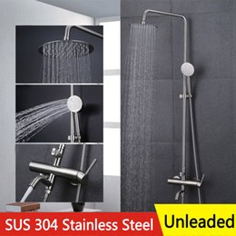 Wholesale Brush Nickle Faucet - Bath Shower Suit Big Round Head and hand Shower Spray sprinkler 304 Stainless Steel Unleaded Cold Hot Mix Faucet with Lift Rod 1.5m Hole