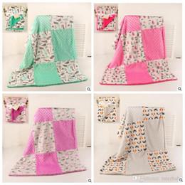Wholesale Spring Patchwork Bedding - Baby INS Blankets Fleece Hole Warm Swaddle Blanket Kids Dots Contrast Color Print Throw Blanket Infant Super Soft Bedding Sofa Blanket J443