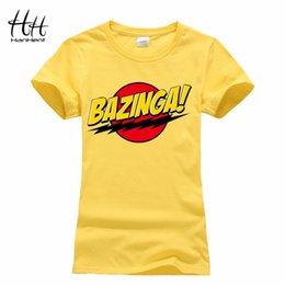 Wholesale Wholesale School Shirts - Wholesale-HanHent Bazinga Funny Women's T-Shirts Cotton Ladies School Style The Big Bang Theory T Shirt Casual Cropped Tee Shirt Woman