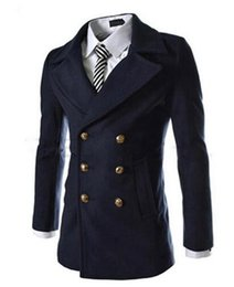 Wholesale Winter Wool Coat Buckles - New men's autumn winter fashion in Europe and the cultivate one's morality personality metal buckle cloth trench coat   M-2XL