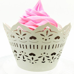 Wholesale Laser Cut Cupcake Boxes - Ivory laser cutting cupcake wrapper hollow lovely wedding marriage cupcake boxes party favors multi colors free ship