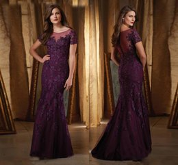 Wholesale Winter Applique Designs - Dark Purple Mermaid Mother Of The Bride Dresses Sheer Scoop Neckline Wedding Guest Dress Custom Made New Design Party Gown With Appliques