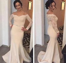 Wholesale Noble Short Sleeves Wedding Gown - 2017 Cheap Noble Lace Appliques Bridesmaid Dress Wedding Ceremony Mermaid Long Sleeve Formal Maid of Honor Gown Plus Size Custom Made