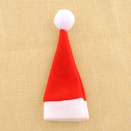 Wholesale Red Hat Items - Wholesale- Red Santa Hat Christmas Spoon Fork Bags Tableware Silverware Holders Pocket Dinner Table Decor*Christmas items