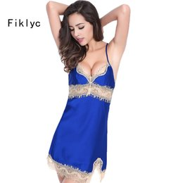 Wholesale- sexy female lace sleepwear dress home clothing nightwear silk  nightgown suspender ladies pijamas satin backless plus size suits 596f17290