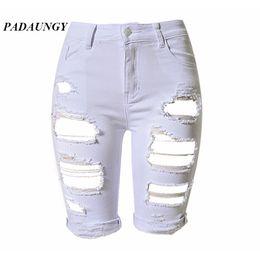 Wholesale Tear Jeans For Women - Wholesale- PADAUNGY Ripped Jeans For Women High Waist Torn Denim Pants Knee Length Trousers Plus Size Jeggings Pencil Slim Fit Jean Femme