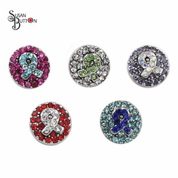 Wholesale breast cancer awareness jewelry - Wholesale 12pcs lots Mini metal Snap buttons cancer breast awareness rhinestone ribbon snap button jewelry fit 12mm Snap Button charms