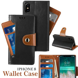 Wholesale Cellphone Leather Cases - For Iphone X 8 8Plus Wallet Leather Case With Card Pocket Photo Frame PU Cellphone Cases For Samsung Galaxy Note8 With Opp Package