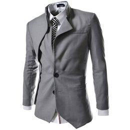Wholesale Korean Mens Jacket Slim - Wholesale- 2016 Blazer Men Arrival Korean Fashion Design Mens Black Slim Fit Fake Two Suit Men Brand Jacket Autumn Casual Blazer