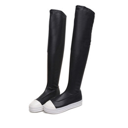 Wholesale White Flat Thigh High Boots - Fashion European Trend Black Stretch Over The Knee Boots For Woman Round Toe Sexy White Platform Thick Bottom Botas Mujer