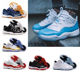 Wholesale University Rubber - Air retro 11 UNC basketball shoes low university blue navy Gum Blue white metallic Gold legend gamma blue Bred 72-10 sport shoes Sneakers
