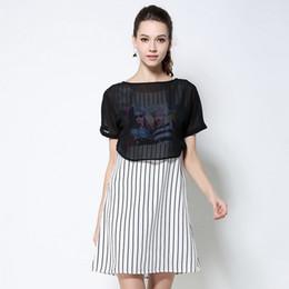 Wholesale Casual Dress For Large Women - Plus Size Stripe Vest Two Piece Dress for Women 2017 Summer Unique Printing 4XL 5XL Large Size Ladies Dresses Elegant Mini Vestidos