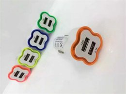 Adaptador de cargador para mesa online-2Ports 2.1A 1.0A Cargador de coche con iluminación LED Tipo de flor Dual Usb para teléfonos Table PC Adaptador de viaje
