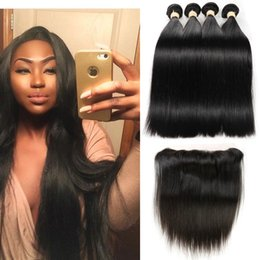 Wholesale Straight Human Lace Hairline - 8A Grade Brazilian Virgin Hair Straight 4 Bundles with Lace Frontal Ear to Ear Natural Hairline 13*4 Frontal with Human Hair Weaves 5pcs Lot