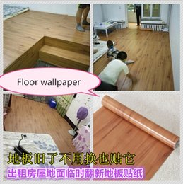 Wholesale Wood Pvc Wall Sticker - Wholesale- self-adhesive wallpaper wall paper thickening imitation wood furniture PVC floor waterproof cabinets renovation wall stickers